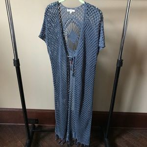 Indigo Thread Co. Jackets & Coats - Boho blue knit crochet long duster with fringe